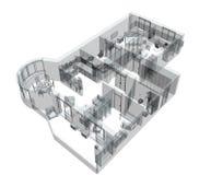 bosquejo 3d de un apartamento del cuatro-cuarto libre illustration