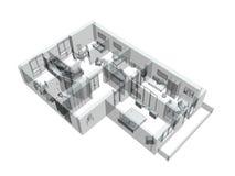 bosquejo 3d de un apartamento del cuatro-cuarto stock de ilustración