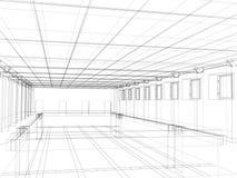 bosquejo 3d de un edificio público interior Foto de archivo