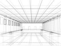 bosquejo 3d de un interior de un edificio público