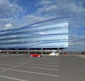 bosquejo 3D del edificio comercial moderno Imagenes de archivo