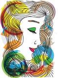 Bosquejo abstracto de la cara de la mujer