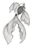 Bosquejo abstracto de un pescado en un fondo blanco Fotografía de archivo libre de regalías