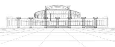 Bosquejo abstracto del edificio de oficinas ilustración del vector