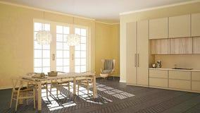 Bosquejo abstracto que muestra la sala de estar moderna con la cocina, clásica Imagen de archivo