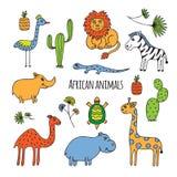 Bosquejo africano de los animales stock de ilustración