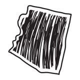 Bosquejo aislado del estado de Arizona stock de ilustración