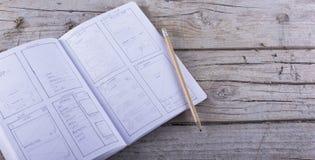 Bosquejo app del papel del bosquejo de la disposición Fotografía de archivo libre de regalías