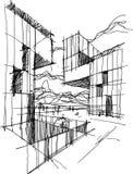 Bosquejo arquitectónico de una arquitectura abstracta moderna stock de ilustración