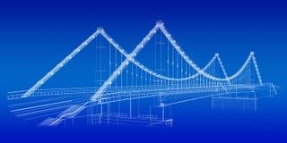 Bosquejo arquitectónico: puente en azul