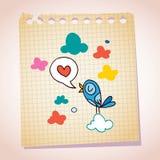 Bosquejo azul de la historieta del papel de nota del mensaje del amor del pájaro Foto de archivo libre de regalías