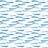 Bosquejo azul de la mano de la acuarela del modelo de ondas del verano brillante transparente maravilloso blando artístico hermos Fotografía de archivo libre de regalías