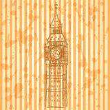 Bosquejo Big Ben, fondo EPS 10 del vector Imagen de archivo libre de regalías