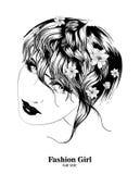 bosquejo Cara de la muchacha de la belleza en un fondo blanco Foto de archivo libre de regalías