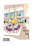 Bosquejo coloreado del interior residencial de la cabaña de la casa o del verano equipado en estilo escandinavo moderno Cena dibu ilustración del vector
