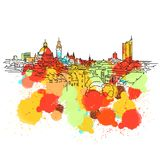 Bosquejo colorido del horizonte de Leipzig stock de ilustración
