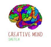 Bosquejo colorido del VECTOR creativo de la mente en blanco Foto de archivo