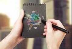 Bosquejo colorido del viaje en libreta imagen de archivo