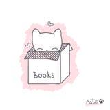 Bosquejo con el gatito en la caja Imagen de archivo libre de regalías