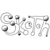Bosquejo con frase dibujada mano del pacman Ejemplo de la tinta Dibujado a pulso Aislado en el fondo blanco Fotografía de archivo libre de regalías