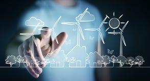 Bosquejo conmovedor de la energía renovable del hombre de negocios ilustración del vector
