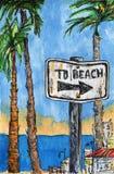bosquejo Día de fiesta del verano Palmeras, mar, muestra que muestra la dirección a la playa Fotos de archivo libres de regalías
