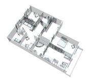 bosquejo 3d de un apartamento del cuatro-cuarto ilustración del vector