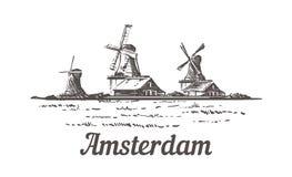 Bosquejo de Amsterdam, Zanse Schans en el aire abierto, donde se reconstruye un paisaje holandés típico ilustración del vector