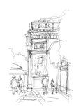 Bosquejo de Arc de Triomphe stock de ilustración