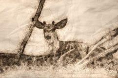 Bosquejo de Buck Resting joven en la sombra de un árbol ilustración del vector