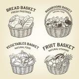 Bosquejo de cestas con diversa comida natural La composición del vector incluye el pan, verduras, la fruta y setas Fotografía de archivo libre de regalías