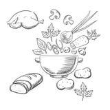 Bosquejo de cocinar una ensalada de la cena Foto de archivo libre de regalías