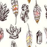 Bosquejo de cristales stock de ilustración