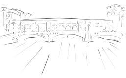 Bosquejo de Florence Old Bridge Fotos de archivo libres de regalías