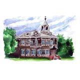 Bosquejo de la acuarela - casa de madera vieja stock de ilustración