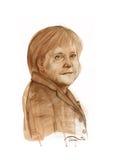 Bosquejo de la acuarela de Angela s Merkel Foto de archivo