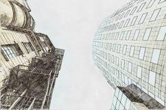 Bosquejo de la arquitectura de viejo contra nuevo concepto libre illustration