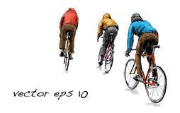 Bosquejo de la bicicleta fija del engranaje del ciclista que monta en la calle, illustrat Foto de archivo libre de regalías