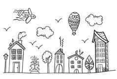 Bosquejo de la calle de la ciudad stock de ilustración