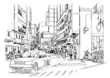 Bosquejo de la calle de la ciudad, paisaje urbano, ejemplo ilustración del vector