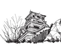 Bosquejo de la carta blanca famoso: Castillo Japón de Kumamoto stock de ilustración