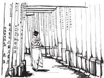 Bosquejo de la carta blanca famoso: Las mujeres en kimono se colocan en las puertas de Torii en la capilla de Fushimi Inari ilustración del vector