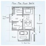 Bosquejo de la casa del plan de piso Fotografía de archivo libre de regalías