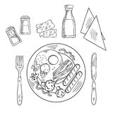 Bosquejo de la cena cocinada sabrosa en una placa Foto de archivo