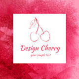 Bosquejo de la cereza aislado en el fondo blanco, línea arte, textura roja de la acuarela, baya para empaquetar, fruta del diseño stock de ilustración