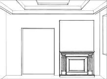 Bosquejo de la chimenea en interior casero moderno imagenes de archivo