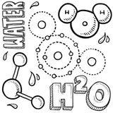 Bosquejo de la ciencia de la molécula de agua Foto de archivo libre de regalías