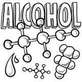 Bosquejo de la ciencia de la molécula del alcohol Fotografía de archivo libre de regalías