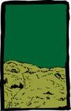 Bosquejo de la colina cubierta de musgo con el fondo verde ilustración del vector