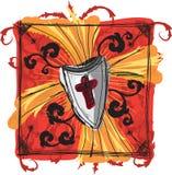 Bosquejo de la cruz y del blindaje Imágenes de archivo libres de regalías